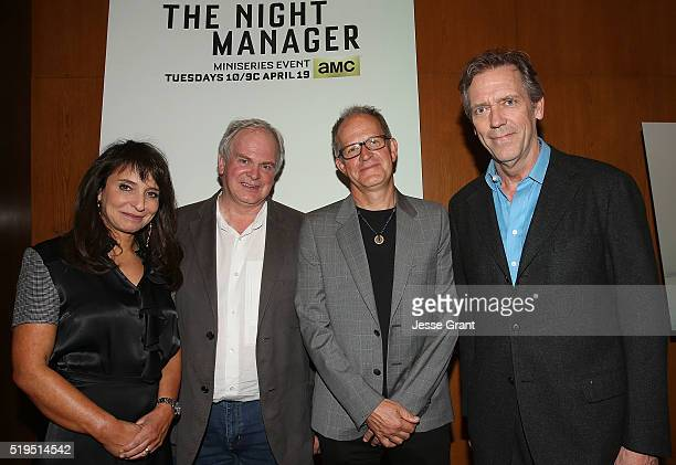 "Producer/Director Susanne Bier, executive producer Stephen Garrett, executive producer Stephen Cornwell and actor Hugh Laurie attend AMC's ""The Night..."