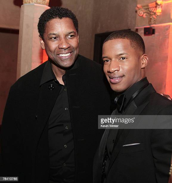 Producer/director/actor Denzel Washington and actor Nate Parker pose at the afterparty for the premiere of MGM's The Great Debaters at the Roosevelt...
