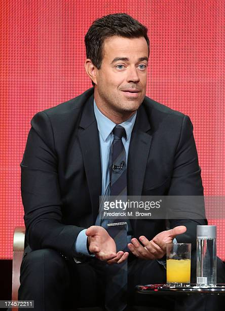 Producer/Host Carson Daly speaks onstage during 'The Voice' panel discussion at the NBC portion of the 2013 Summer Television Critics Association...