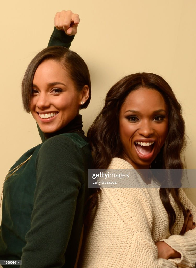 Producer/musician Alicia Keys and actress Jennifer Hudson pose for a portrait during the 2013 Sundance Film Festival at the Getty Images Portrait Studio at Village at the Lift on January 18, 2013 in Park City, Utah.