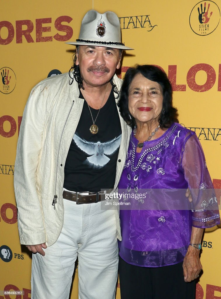 Producer/musician Carlos Santana and labor leader/activist Dolores Huerta attend the 'Dolores' New York premiere at The Metrograph on August 21, 2017 in New York City.