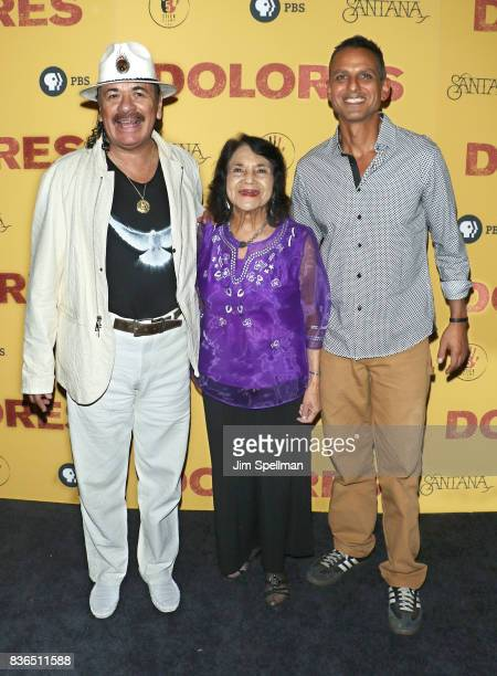 Producer/musician Carlos Santana labor leader/activist Dolores Huerta and director Peter Bratt attend the 'Dolores' New York premiere at The...
