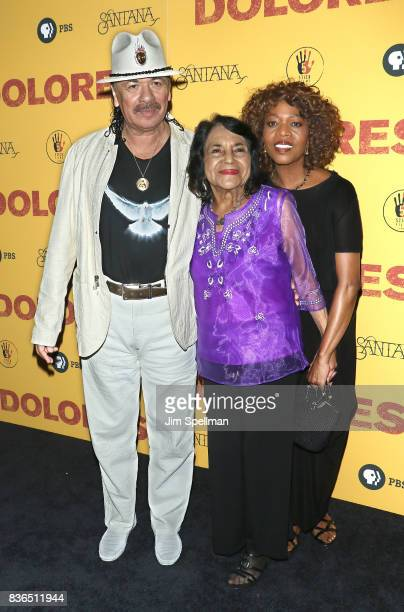 Producer/musician Carlos Santana labor leader/activist Dolores Huerta and actress Alfre Woodard attend the 'Dolores' New York premiere at The...