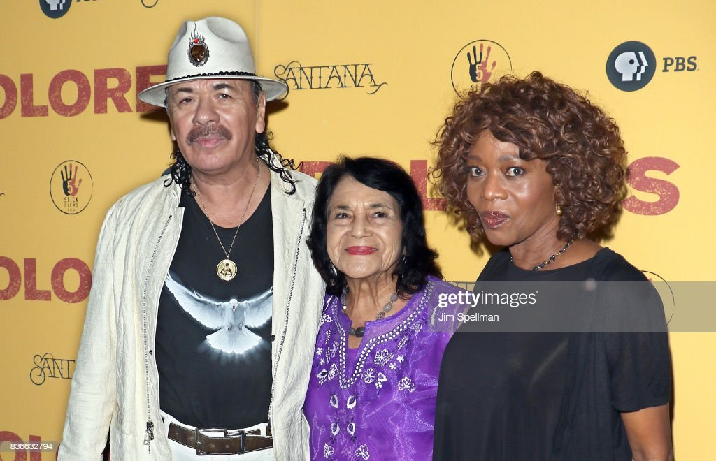 Producer/musician Carlos Santana, labor leader/activist Dolores Huerta and actress Alfre Woodard attend the 'Dolores' New York premiere at The Metrograph on August 21, 2017 in New York City.