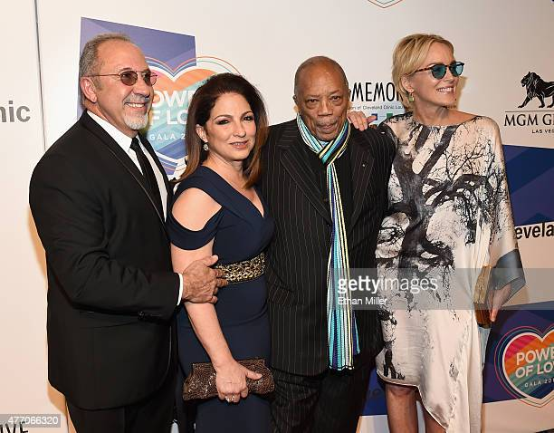 Producer/musician Emilio Estefan Jr., singer Gloria Estefan, record producer Quincy Jones and actress Sharon Stone attend the 19th annual Keep Memory...