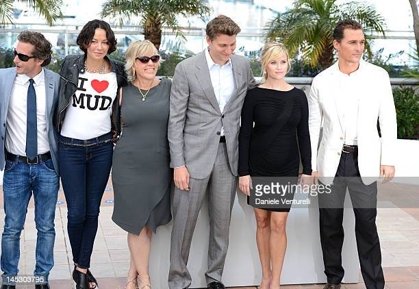 Producers Aaron Ryder Lisa Maria Falcone Sarah Green director Jeff Nichols actors Reese Witherspoon and Matthew McConaughey attend the Mud Photocall...