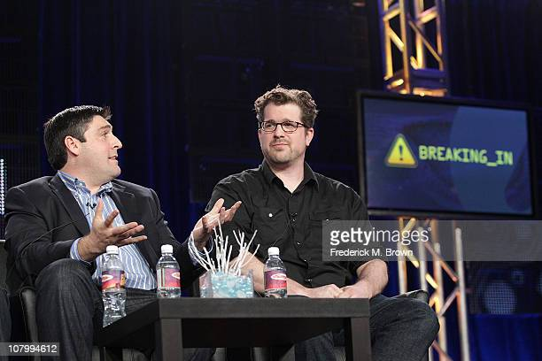 Producers Adam F Goldberg and Seth Gordon speak onstage during the 'Breaking In' panel at the FOX Broadcasting Company portion of the 2011 Winter TCA...