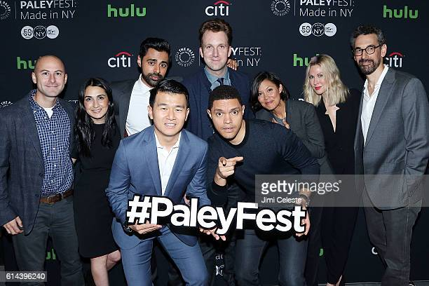Producers Adam Lowitt Jen Flanz Actors Hasan Minhaj Ronny Chieng Jordan Klepper Trevor Noah Alex Wagner Desi Lydic and Producer Steve Bodow attend...