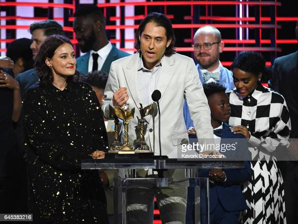 Producers Adele Romanski and Jeremy Kleiner accept the Best Feature award for 'Moonlight' onstage during the 2017 Film Independent Spirit Awards at...