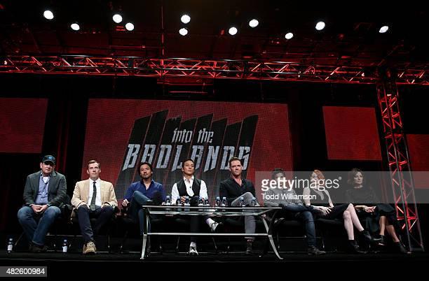 Producers Al Gough Miles Millar Stephen Fung actors Daniel Wu Marton Csokas Aramis Knight Emily Beecham and Orla Brady of Into the Badlands attend...