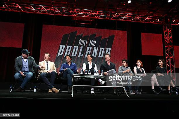 Producers Al Gough Miles Millar Stephen Fung Daniel Wu actors Marton Csokas Aramis Knight Emily Beecham and Orla Brady of Into the Badlands attend...