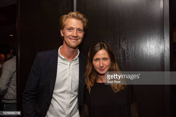 Producers Alex Holmes and Victoria Gregory pose for a photo at Sony Pictures Classics TIFF Celebration Dinner at Morton's on September 8, 2018 in...