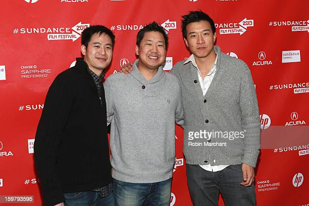 Producers Allen Lu Christopher Chen and Brian Yang attend the 'Linsanity' Premiere at The Marc Theatre during the 2013 Sundance Film Festival on...