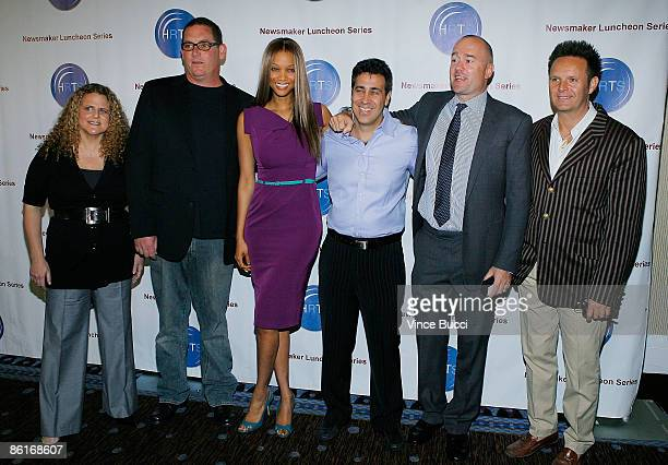 Producers Allison Grodner Mike Fleiss Tyra Banks Arthur Smith Michael Davies and Mark Burnett attend The Hollywood Radio and Television Society's...