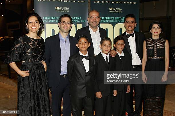 Producers Amira Diab Ali Jafaar Actor Qais Attaalah Director Hany AbuAssad Actor Ahmed Qasim Actor Abdelkader Abubaraka and Mohammad Assef attend the...