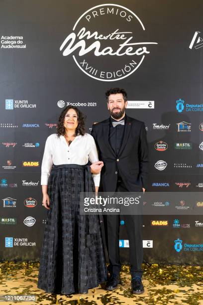 Producers Ana Míguez and Alfonso Blanco attends the Mestre Mateo Awards in A Coruna on March 07 2020 in A Coruna Spain