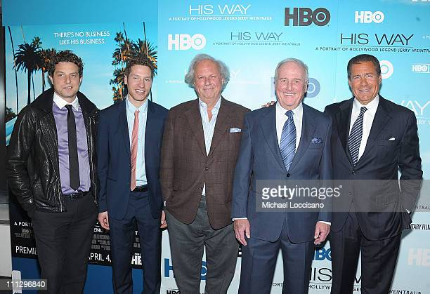 Producers and brothers Alan Polsky and Gabe Polsky producer and Vanity Fair Magazine Editor Graydon Carter film subject Jerry Weintraub and HBO Co...