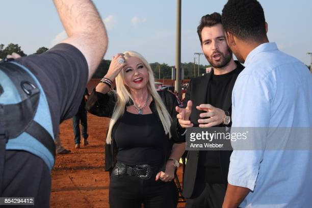 Producers and founders of AMBI Media Group Monika Bacardi and Andrea Iervolino interview with Entertainment Weekly On The Set Of The Movie Trading...