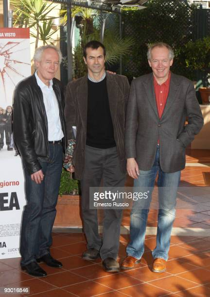 Producers Andrea Occhipinti Jean Pierre and Luc Dardenne attend the 'La Prima Linea' photocall at the Bernini Hotel on November 12 2009 in Rome Italy