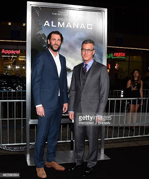 Producers Andrew Form and Brad Fuller pose on arrival for the Los Angeles Premiere of Project Almanac on January 27 2015 in Hollywood California The...