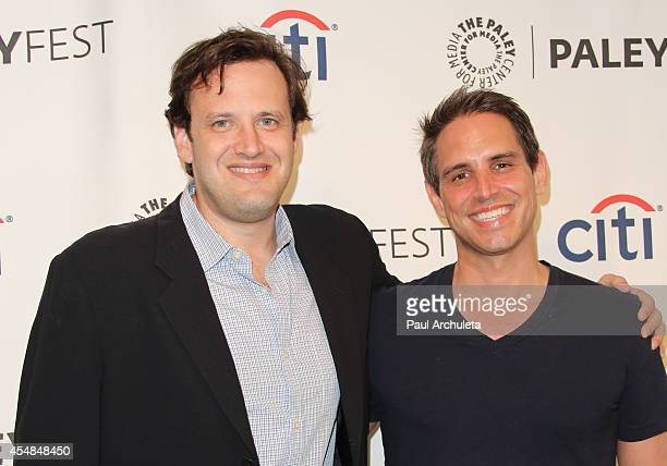 Producers Andrew Kreisberg and Greg Berlanti attend the 2014 PaleyFestFall previews of the CW Network at The Paley Center for Media on September 6...