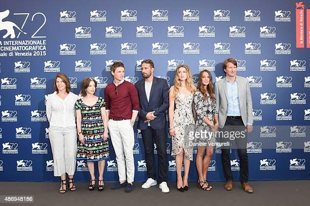 Producers Anne Harrison, Gail Mutrux, actors Eddie Redmayne, Matthias Schoenaerts, Amber Heard, Alicia Vikander and director Tom Hooper attend a...