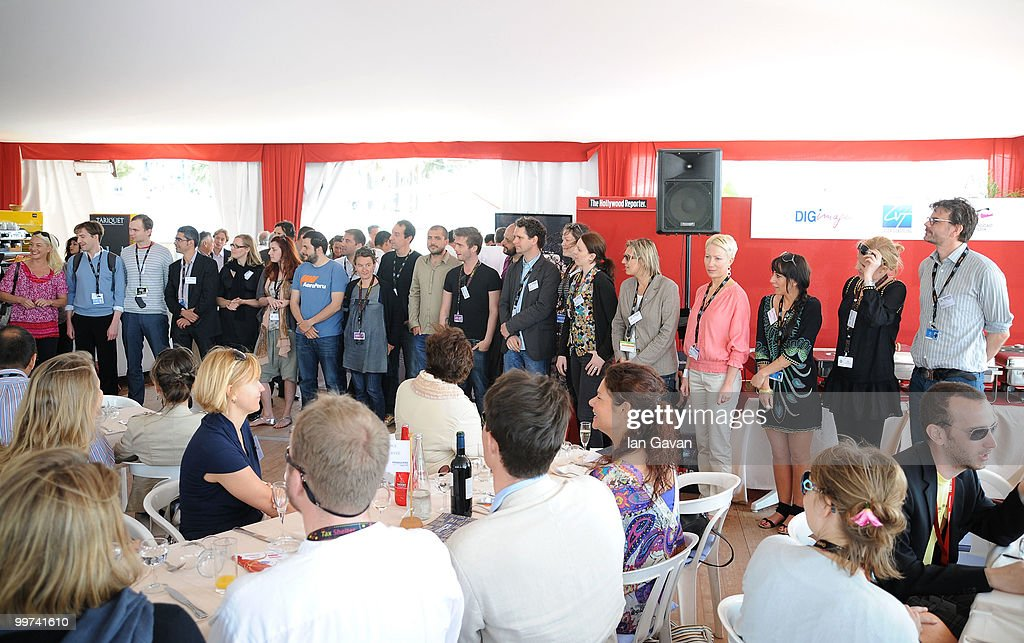 Producers Anne Walser of Switzerland, Tamas Liszka of Hungary, guest, Alvaro Alonso of Spain, Anneli Ahven of Estonia, Jelena Mitrovic of Serbia, Yorgos Tsourgiannis of Greece, Lauranne Bourrachot of France, Simone Bachini of Italy, Kamen Kalev of Bulgaria, Davio Oskar Olaffson of Iceland, Daniel Burlac of Romania, Oliver Damian of Germany, Katie Holly of Ireland, Lizette Jonjic of Sweden, Silvia Panakova of Slovak Republic, Kamila Polit of Poland, Isabelle Stead of United Kingdom, Annika Sucksdorff of Finland and Asle Vatn attend the 'Producers On The Move' Luncheon at the The VIP Room during the 63rd Annual Cannes Film Festival on May 17, 2010 in Cannes, France.
