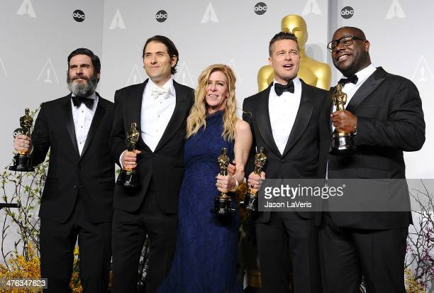Producers Anthony Katagas Jeremy Kleiner Dede Gardner Brad Pitt and director Steve McQueen winners of Best Picture for '12 Years a Slave' poses in...