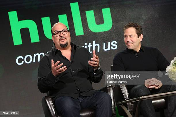 Producers Anthony Zuiker and Darren Star speak onstage during the Hulu Winter TCA Press Tour 2016 'Great Shows New Audiences' panel at The Langham...