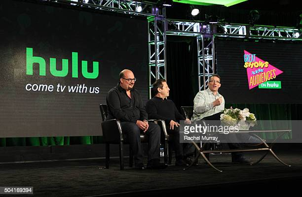 Producers Anthony Zuiker Darren Star and Robert Thomas speak onstage during the Hulu Winter TCA Press Tour 2016 'Great Shows New Audiences' panel at...