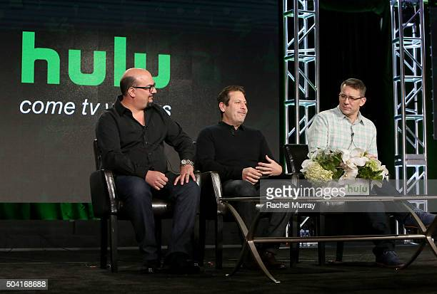 Producers Anthony Zuiker Darren Star and Robert Thomas speaks onstage during the Hulu Winter TCA Press Tour 2016 'Great Shows New Audiences' panel at...