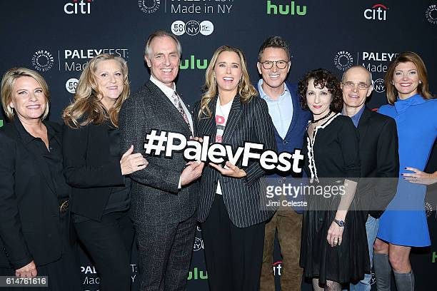 Producers Barbara Hall Lori McCreary Actors David Carradine Tea Leoni Tim Daly Bebe Neuwirth Zeljko Ivanek and Moderator Norah ODonnell attends...