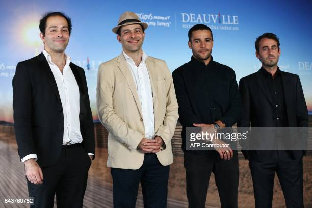 US producers Benjamin Steiner producer David Steiner actor Christopher Abbott and director Wayne Roberts pose during a photocall for the film Katie...