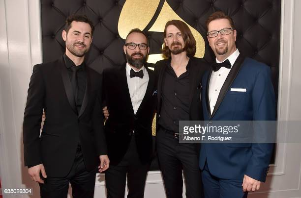 Producers Big Taste Gladus J Hart and Axident attend The 59th GRAMMY Awards at STAPLES Center on February 12 2017 in Los Angeles California