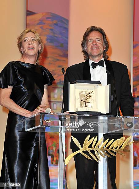 Producers Bill Pohlad and Dede Gardner with the Palme d'Or for The Tree of Life accept the award at the Closing Ceremony at the Palais des Festivals...