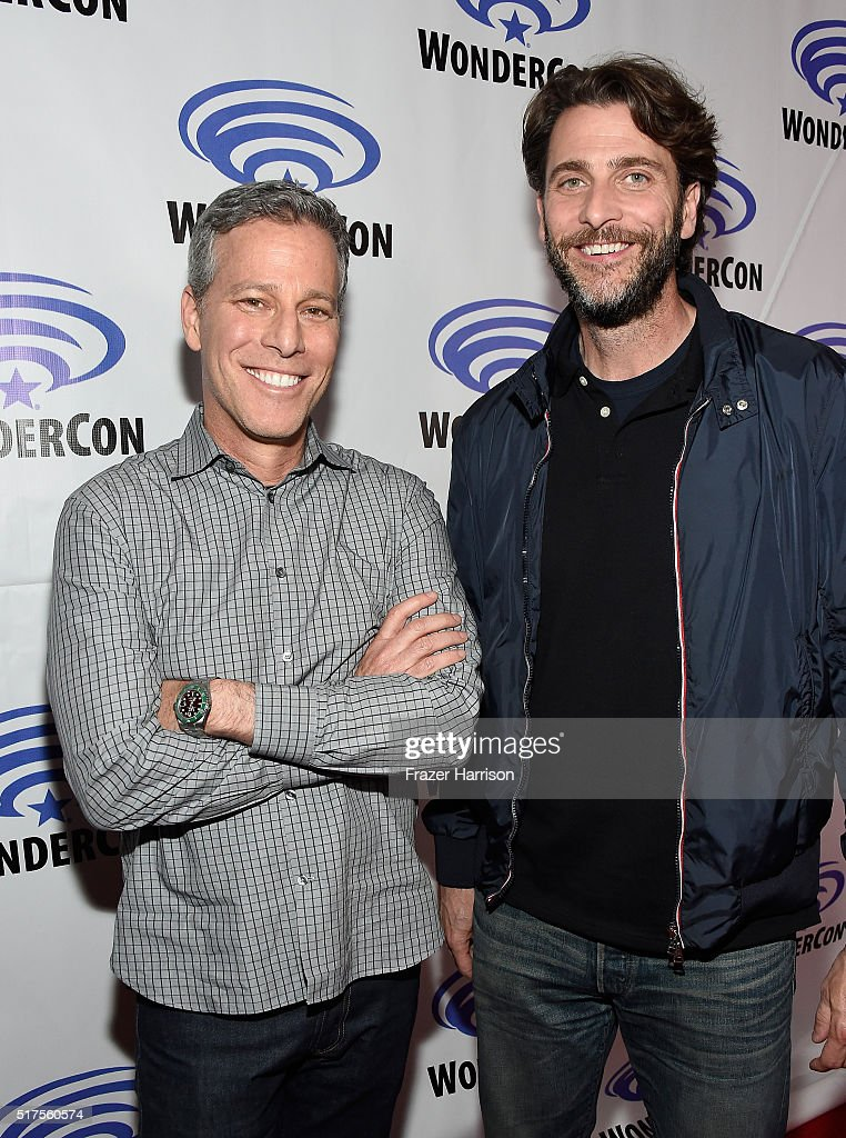 "Producers Brad Fuller (L) and Andrew Form attend a panel at WonderCon 2016 to promote the upcoming release of Paramount Pictures' ""Teenage Mutant Ninja Turtles – Out of The Shadows"", on March 25, 2016 at the LA Convention Center in Los Angeles, California."