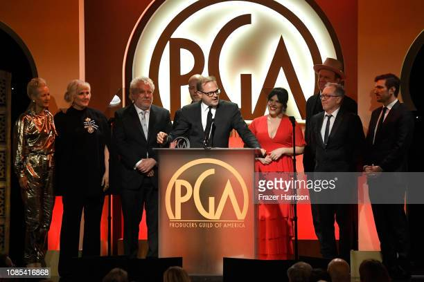 Producers Brad Simpson and Alexis Martin Woodall accept The David L Wolper Award for Outstanding Producer of Limited Series Television for 'The...