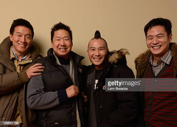 Producers Brian Yang Christopher Chen director Evan Jackson Leong and producer Allen Lu pose for a portrait during the 2013 Sundance Film Festival at...