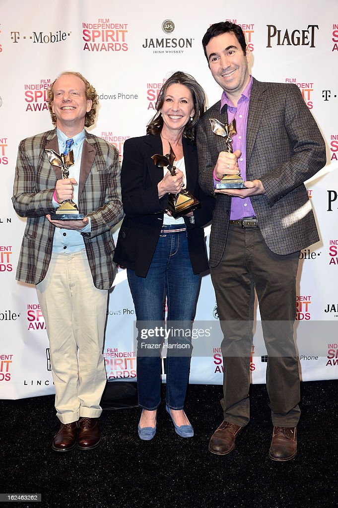 Producers Bruce Cohen, Donna Gigliotti and Jonathan Gordon pose with the Best Feature award for 'Silver Linings Playbook' in the press room during the 2013 Film Independent Spirit Awards at Santa Monica Beach on February 23, 2013 in Santa Monica, California.
