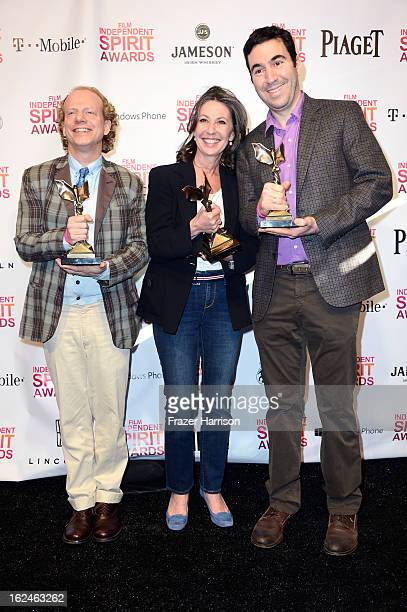 Producers Bruce Cohen Donna Gigliotti and Jonathan Gordon pose with the Best Feature award for 'Silver Linings Playbook' in the press room during the...