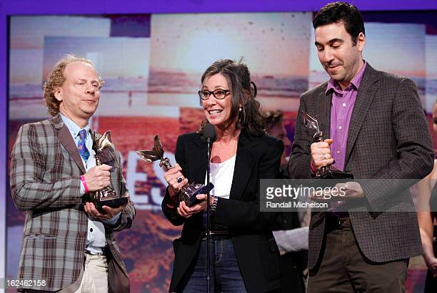 Producers Bruce Cohen Donna Gigliotti and Jonathan Gordon speak onstage during the 2013 Film Independent Spirit Awards at Santa Monica Beach on...