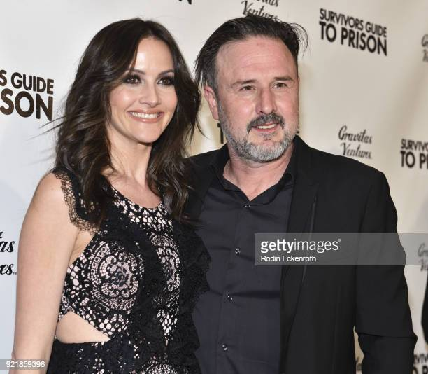 Producers Christina Arquette and David Arquette attend the premiere of Gravitas Pictures' 'Survivors Guide To Prison' at The Landmark on February 20...