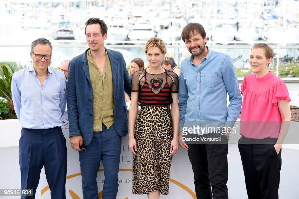 Producers Christoph Friedel and Claudia Steffen actors Hans Loew Elena Radonicich and director Ulrich Koehler attend the photocall for 'In My Room'...