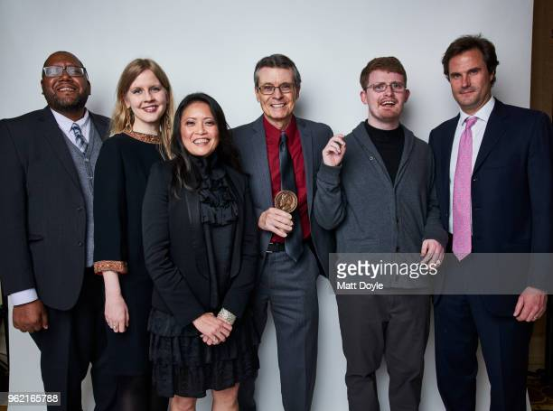 Producers Christopher Hastings Justine Nagan Carmen L Vicencio Robert Rooy David James Savarese and Chris White of 'America ReFramed Deej' pose for a...