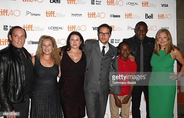 Producers Daniel Crown Amy Kaufman Riva Marker director/screenwriter Cary Joji Fukunaga actors Abraham Attah Idris Elba and producer Daniela Taplin...