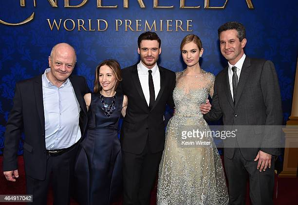 Producers David Barron Allison Shearmur actors Richard Madden Lily James and producer Simon Kinberg attend the premiere of Disney's 'Cinderella' at...