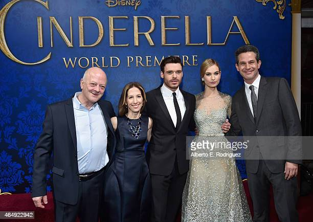 Producers David Barron and Allison Shearmur actors Richard Madden and Lily James and screenwriter Simon Kinberg attend the World Premiere of Disney's...