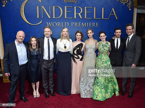 Producers David Barron and Allison Shearmur director Kenneth Branagh actors Cate Blanchett Holliday Grainger Lily James Sophie McShera and Richard...