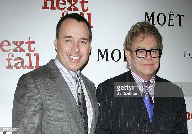 Producers David Furnish and Sir Elton John attend a VIP performance of Next Fall on Broadway at the Helen Hayes Theatre on March 10 2010 in New York...