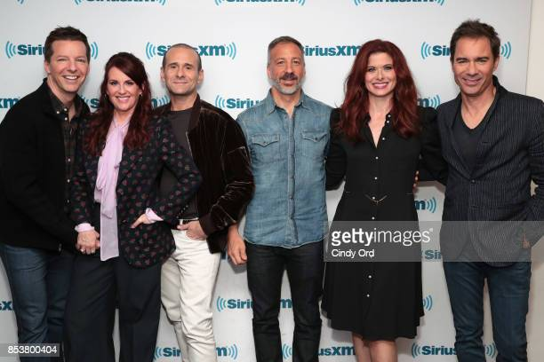 Producers David Kohan and Max Mutchnick and actors Sean Hayes Megan Mullally Debra Messing and Erik McCormack take part in SiriusXM's 'Town Hall'...